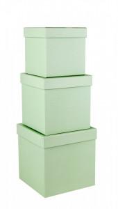 Set 3 cutii patrate, verde buline, 16x16 cm