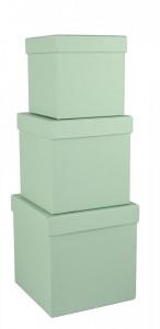 Set 3 cutii patrate, verde menta, 16x16 cm