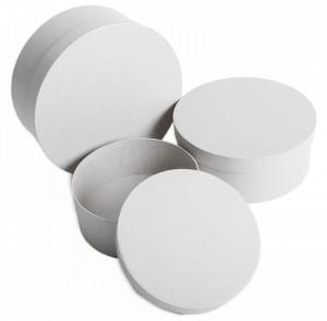 Set 3 cutii rotunde, alb, 8x20 cm
