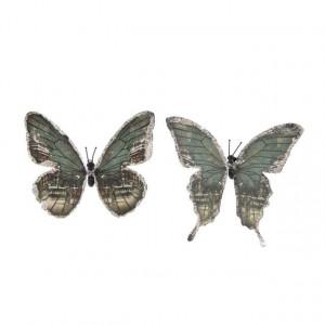 Set 6 fluturi cu clips, verde, 11 cm