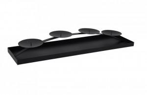 Suport 4 lumanari, metalic, negru, 58 cm