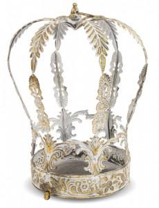 Suport de flori metalic, forma coroana, 40.5x30x30 cm