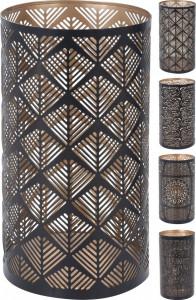 Suport metalic de lumanare, negru/auriu, 23x12.5 cm