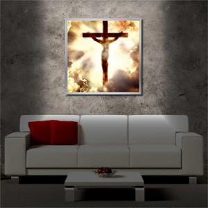 Tablou iluminat LED cu rama metalica Crucifixion (60 x 60 cm)
