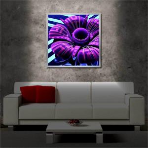 Tablou iluminat LED cu rama metalica Violet Flower (60 x 60 cm)