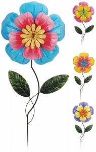 Accesoriu decorativ metalic gradina, forma floare, 20x1x80 cm