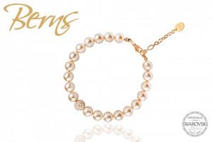 """Bratara cristale Swarovski """"HOLLI"""" aurie, suflata cu aur14k, cu perle albe"""