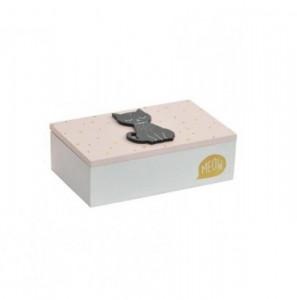 Caseta de lemn, model pisica, S