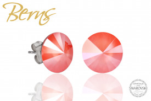 Cercei, cristale Swarovski, coral, diametru 12 mm