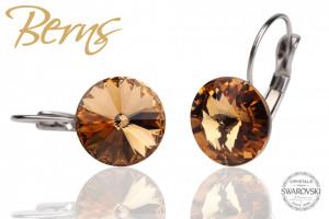 Cercei, cristale Swarovski, cu agatatoare, bronz, diametru 12mm