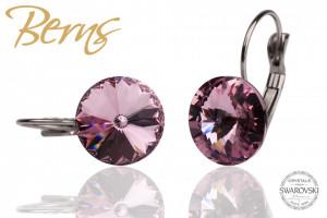 Cercei, cristale Swarovski, cu agatatoare, violet, diametru 12mm