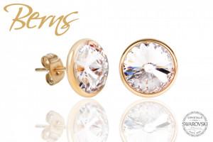 Cercei, cristale Swarovski, margine aurie, suflata cu aur 14k, diametru 10mm