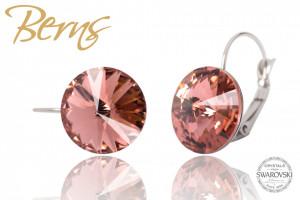 Cercei, cristale Swarovski, rosu deschis, diametru 14mm