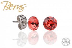Cercei, cristale Swarovski, rosu, diametru 6mm