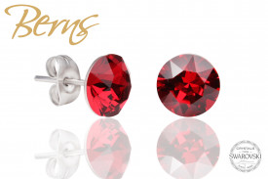 Cercei, cristale Swarovski, rosu, diametru 8mm