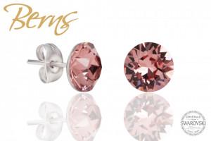 Cercei, cristale Swarovski, roz, diametru 8mm