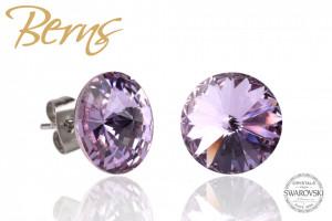 Cercei, cristale Swarovski, violet, diametru 12mm