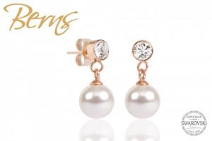 Cercei, perla + cristale Swarovski, alb/rosegold, 8mm