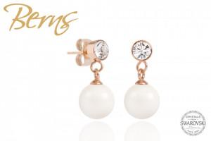 Cercei, perla + cristale Swarovski, ivory/rosegold, 8mm
