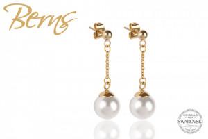 Cercei, perla Swarovski alba, auriu, suflat cu aur 14k