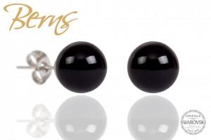 Cercei, perle Swarovski, negru, 10 mm