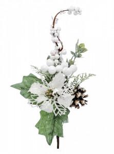 Crenguta artificiala de iarna, alb/verde, 27 cm