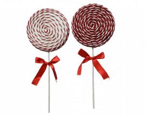 Decoratiune cu agatatoare acadea, rosu/alb, 14x36 cm