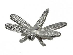 Decoratiune metalica, libelula argintie, 10x10 cm