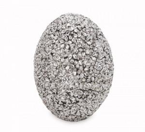Decoratiune ou, argintiu, model floral, 9x6.5 cm