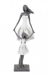 Figurina Mama cu copil, alb/gri, 44.5x15x8.5 cm