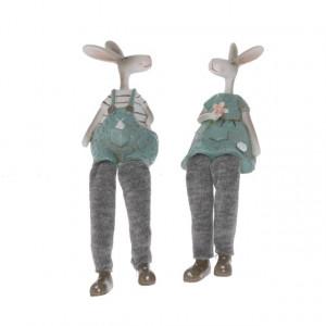 Figurina polirasina, iepuras cu picioare textil, 15 cm