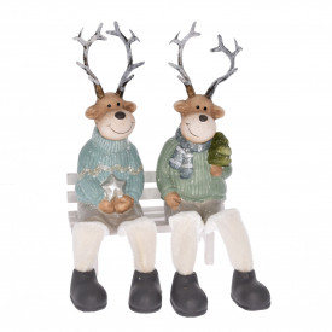 Figurina, ren, coarne plastic + picioare textile, 9 cm
