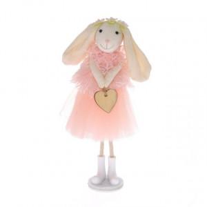 Figurina textila, iepuras cu inimioara, roz, 18x9 cm