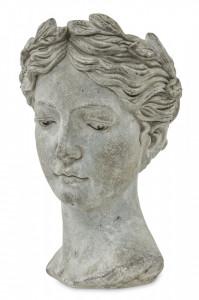 Ghiveci de piatra, forma cap femeie, gri, 35x22 cm