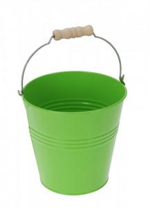 Ghiveci metalic verde, in forma de galeata, 16x15.5 cm