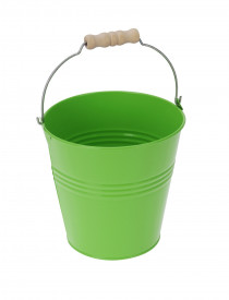 Ghiveci metalic verde, in forma de galeata, 25x29 cm