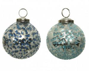 Glob de sticla albastru, model puncte, 10 cm