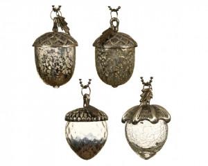 Glob de sticla/metal, ghinda silver, 7x11 cm