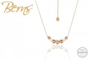 Lantisor auriu din otel inoxidabil, suflat cu aur 14k, cu cristale Swarovski aurii