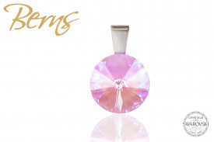 Pandantiv, cristal Swarovski, roz, diametru 12 mm