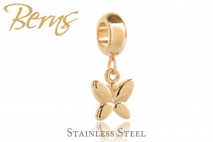 Pandantiv Swarovski, butterfly, auriu, suflat cu aur 14k