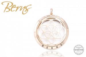 Pandativ aromaterapie, cristale Swarovski, model cercuri, auriu, suflat cu aur 14k