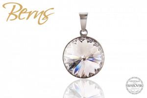 Pandativ, cristale Swarovski, margine argintie, diametru 12mm