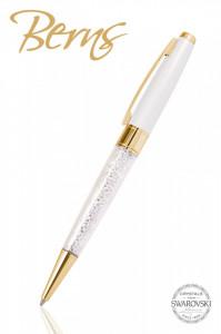 Pix Swarovski, auriu/alb, diametru 10 mm