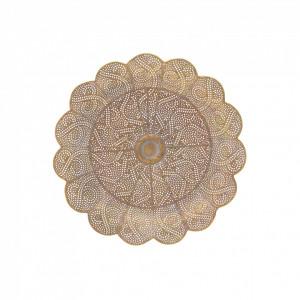Platou metalic auriu antichizat, 38 cm