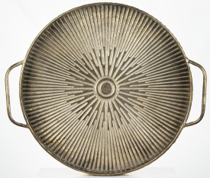 Platou metalic cu manere, auriu antichizat, 7x56x49 cm