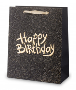 Punga cadou Happy Birthday, negru, 32x26x12 cm