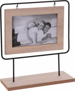 Rama foto de lemn, in cadru metalic, 23x21x8 cm