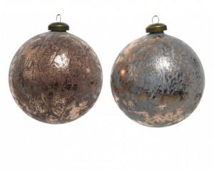 Set 2 globuri, bronz marmorat, 10 cm