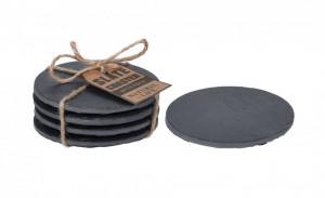 Set 4 suporturi/coastere, pentru pahare, ardezie, 10x10 cm